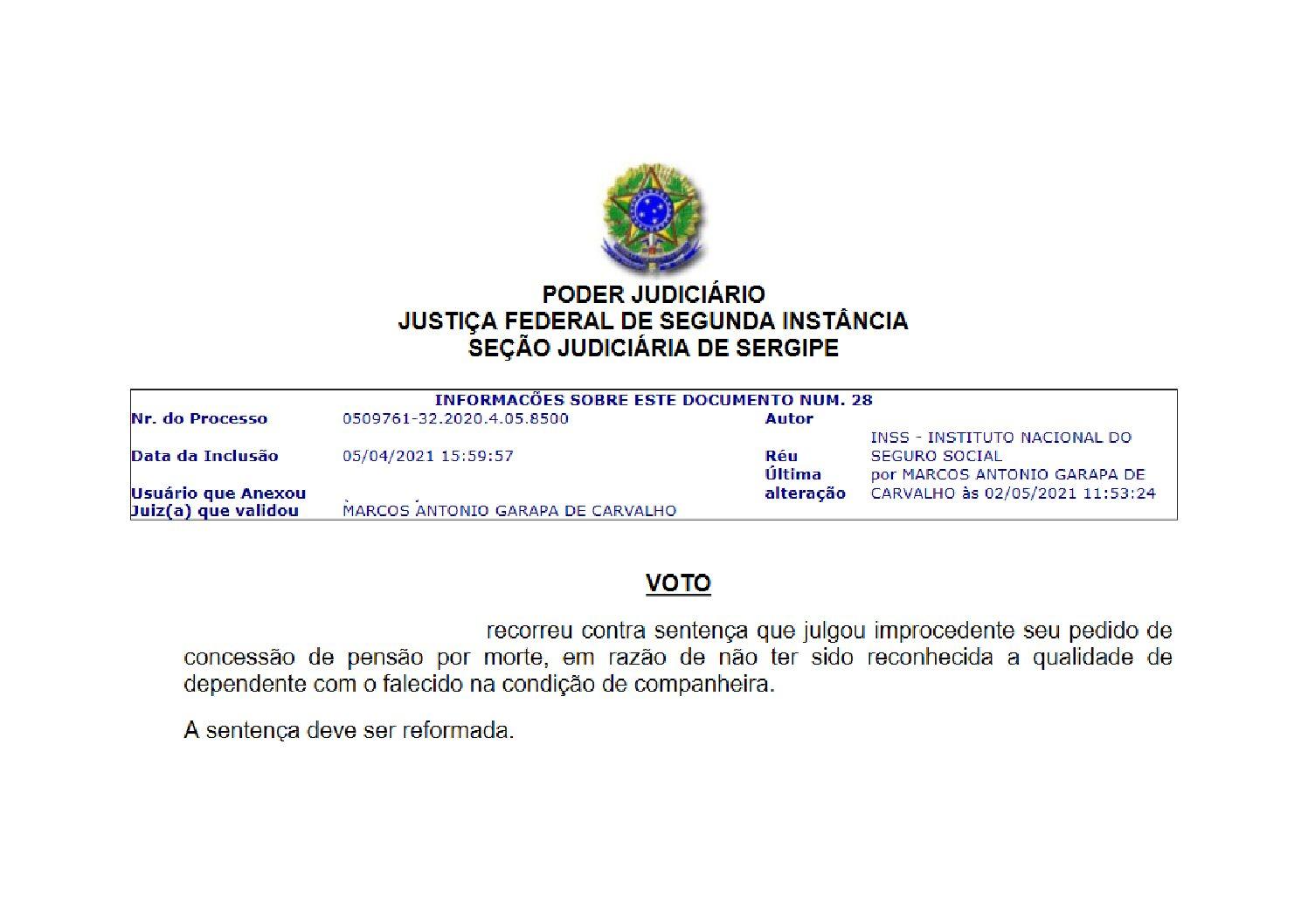 Turma Recursal da JFSE declara inconstitucionalidade da EC n.º 103/2019 em pensão por morte